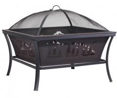 "29"" wildness square steel fire pit"