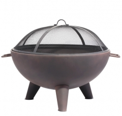 "26"" steel cauldron fire pit"